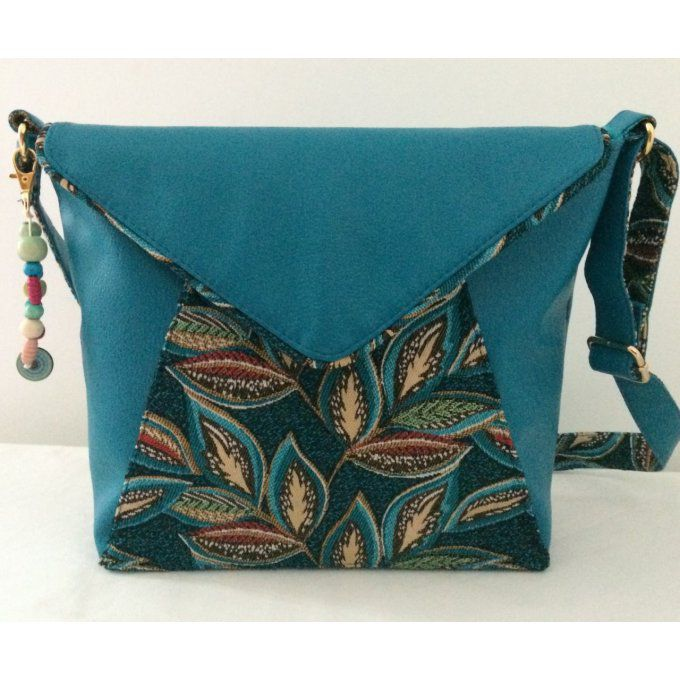 SAC BESACE BELLA FEUILLAGE TURQUOISE